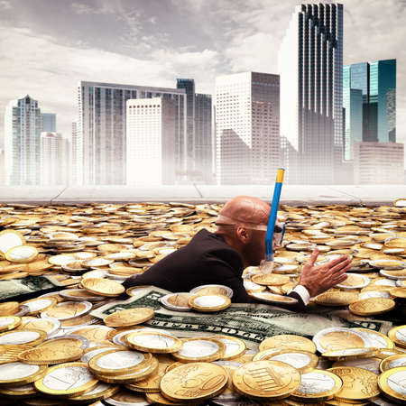 swimming: Businessman swimming in a pool of money