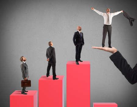 exult: Businessmen on the steps of a statistic
