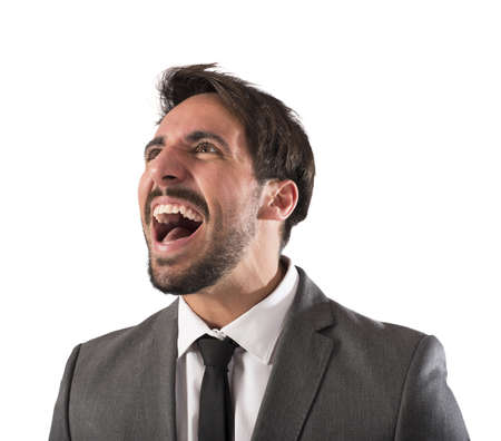 desperate: Desperate businessman stressed out from work screams