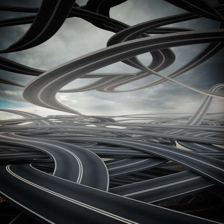 Confusing and winding streets overlapping each other