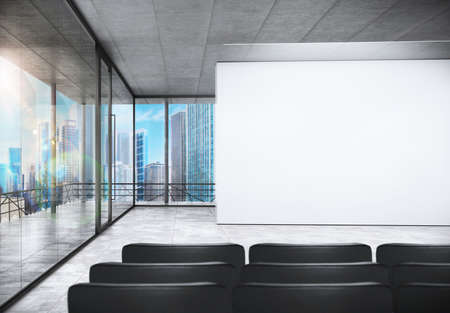 Meeting room in office with urban view