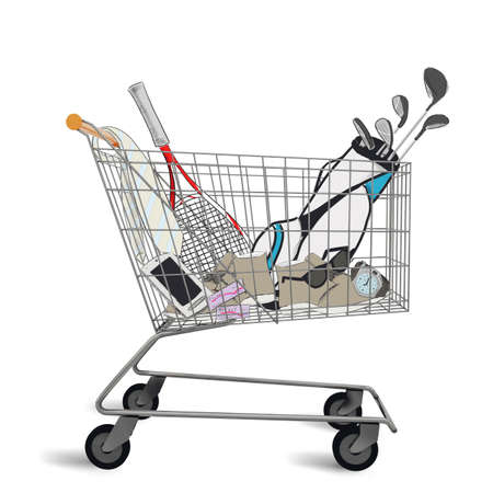 Shopping cart full of purchases and tenders 版權商用圖片
