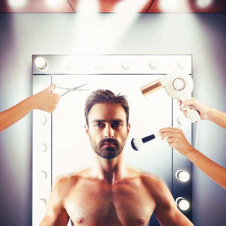 hairstyling: Make-up and hairstyling for a man model