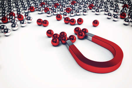 attracts: Magnet that attracts only the red balls