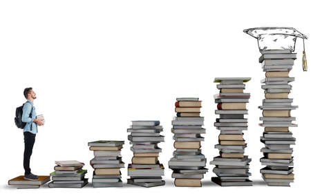 science education: Student climbing a ladder of study books