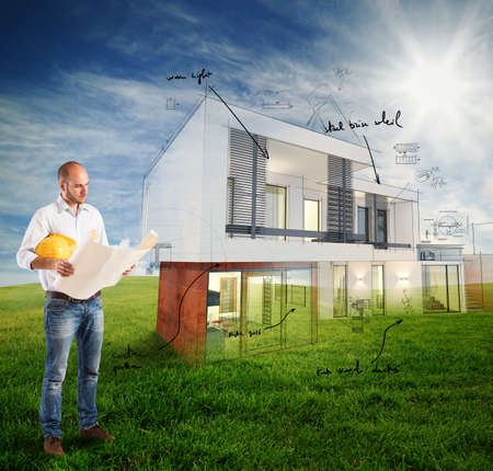 architect: Architect house project in a sunny day Stock Photo