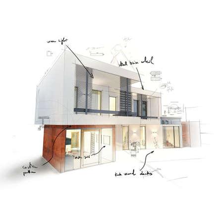 Project van een huis in 3d schets Stockfoto