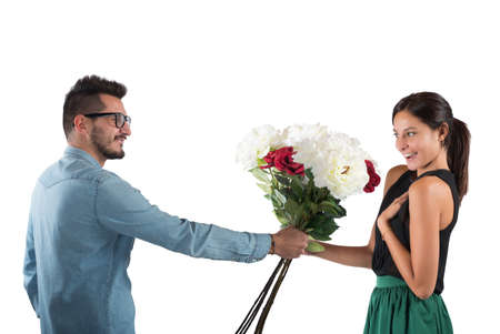 gives: Lover boy gives flowers to his girlfriend