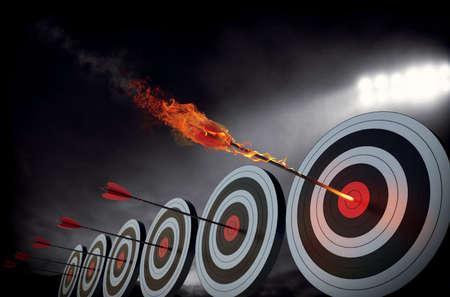 Flaming strzałka uderza w środek tarczy