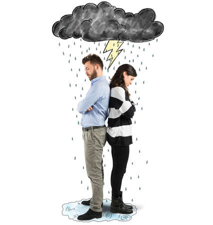trouble: Couple under cloud with lightning and rain