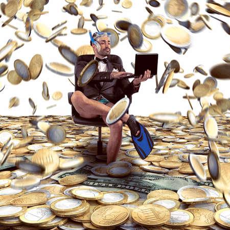 Businessman with fins on money rain background
