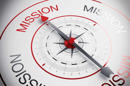 opportunity discovery: Compass with arrow marks the word mission Stock Photo