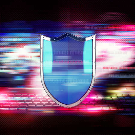 computer virus protection: Shield with binary numbers on colourful background