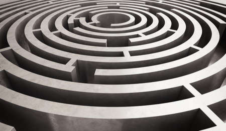 solved maze puzzle: Image of difficult circular maze to solve Stock Photo