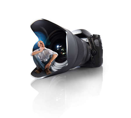 wide angle lens: Photographer and camera with wide angle lens