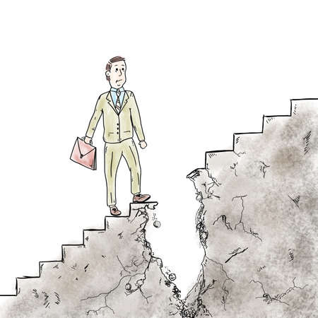 broken strategy: Man walking on the stairs is interrupted