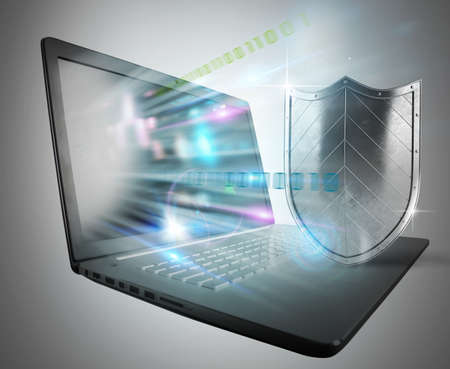 antivirus software: Concept of antivirus with computer and shield Stock Photo
