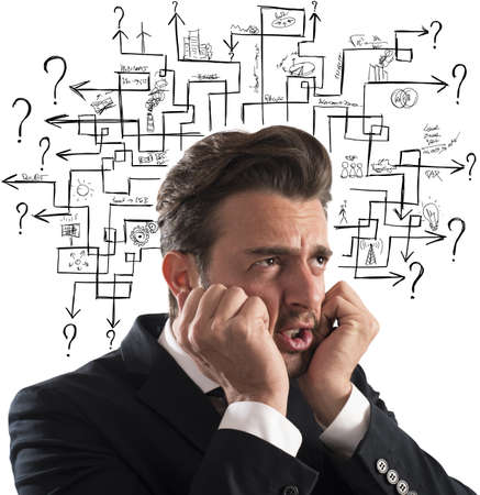 intricacy: Stressed man thinks worried an answer labyrinth