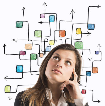 indecision: Businesswoman think with the maze of arrow Stock Photo