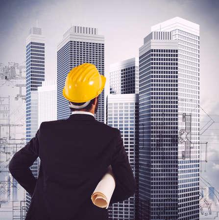 엔지니어 마천루 건설 계획을 찾습니다 스톡 콘텐츠