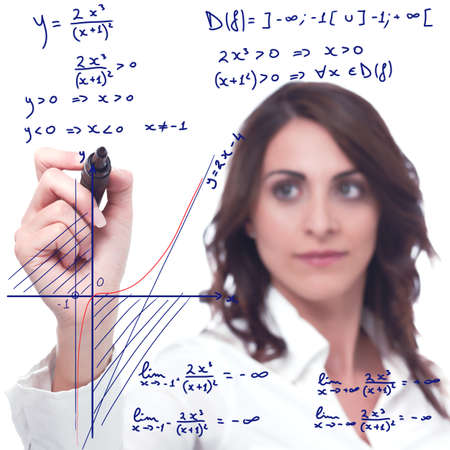 mathematical: Intelligent woman solve a complicated mathematical function Stock Photo
