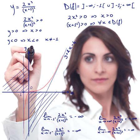 cognicion: mujer inteligente resolver una funci�n matem�tica complicada