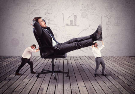 the boss: Supporting employees with fatigue the big boss Stock Photo