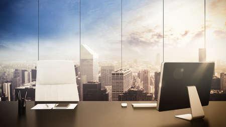 ejecutivo en oficina: oficina Luxuus con la vista del paisaje urbano