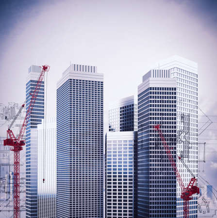 urban planning: Construction of buildings with crane and sketch