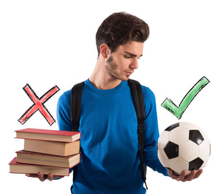 thinks: Boy chooses the ball instead of books