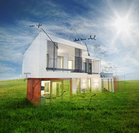 architectural styles: House project on a sunny day background Stock Photo