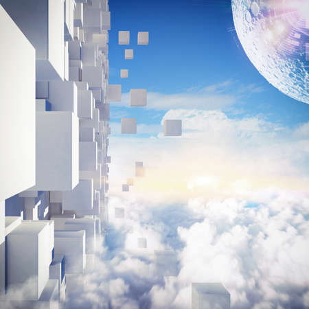 dreams: Background of futuristic city in the sky Stock Photo