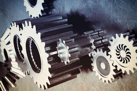 herramientas de mecánica: Sistema de un mecanismo de engranajes pegadas