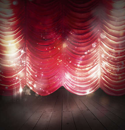 enact: Background theater with red and sparkling curtains