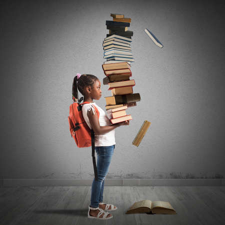 pile of books: Child with backpack and a books pile