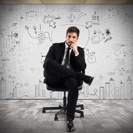 financial executive: Confident businessman with a business project background