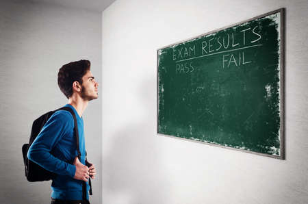 college professor: Teenager student looks at the exam results