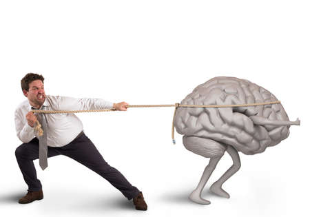 pulling rope: Man pulls the rope with brain drain