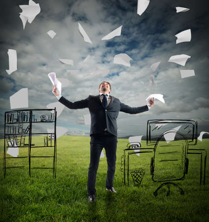 rejoices: Businessman in a meadow rejoices throwing sheets