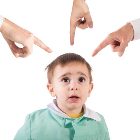 accusations: Frightened child shown by so many fingers