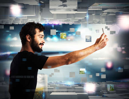 mobile app: Man with cell phone on futuristic background