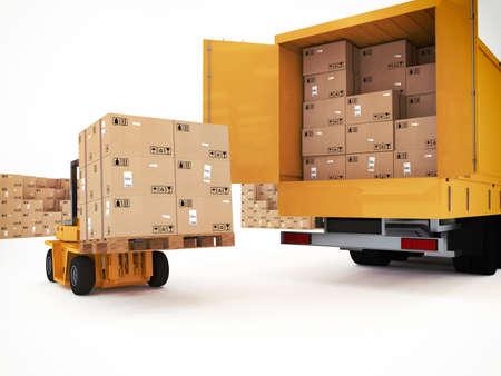 camion grua: Cargando pila de cajas embaladas en el carro
