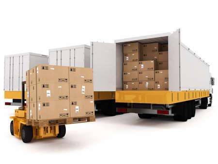 Laden stapel verpakte dozen op vrachtwagen Stockfoto