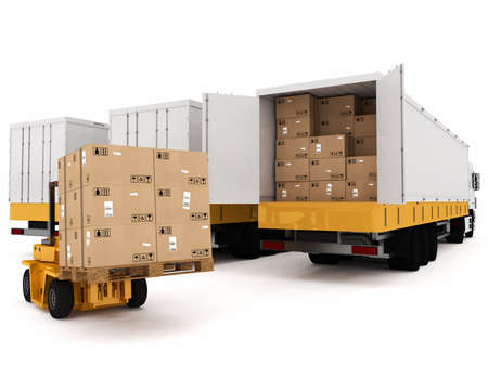 Loading stack of packed boxes on truck Stock Photo