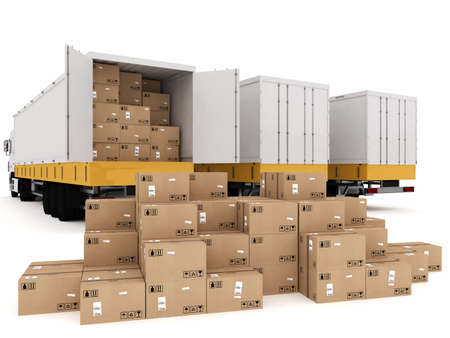 Loading stack of packed boxes on truck Stockfoto