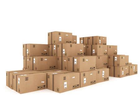cajas de carton: Cerrado cajas de cartón y envuelto con adhesivo Foto de archivo