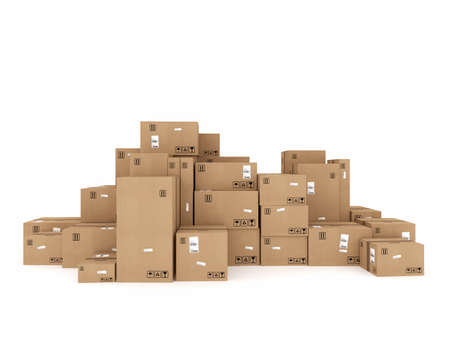 Closed cardboard boxes and wrapped with adhesive
