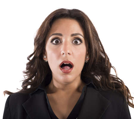 face expressions: Portrait of businesswoman with an astonished expression