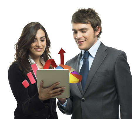 Business people analyze in a tablet graphics Stock Photo