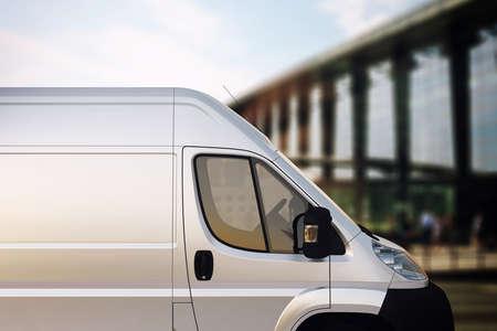 Lastbil för leverans med bron bakgrund